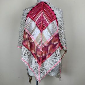 Anthropologie Accessories - Beige & Pink Crocheted Textured Shawl / Wrap